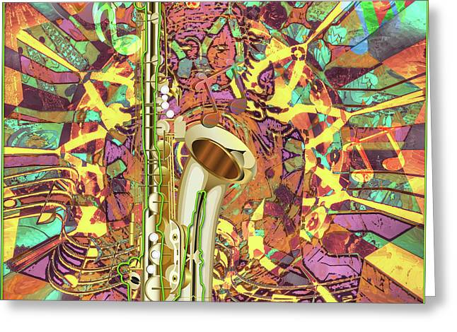 Greeting Card featuring the digital art Jazz Me Up by Eleni Mac Synodinos