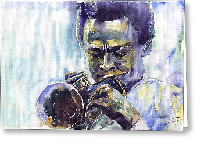 Jazz Miles Davis 10 Greeting Card by Yuriy  Shevchuk