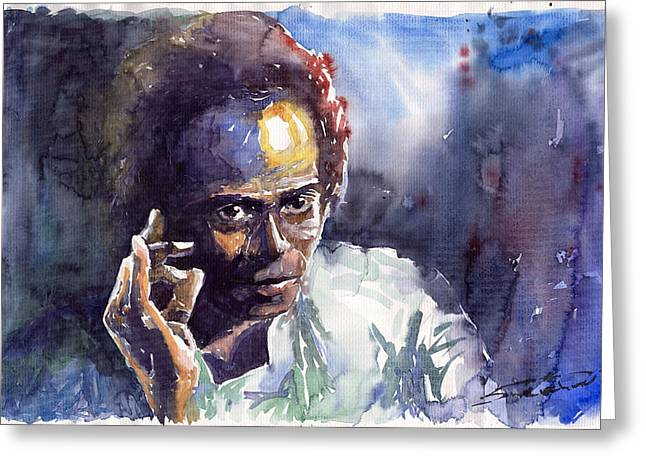 Watercolour Paintings Greeting Cards - Jazz Miles Davis 11 Greeting Card by Yuriy  Shevchuk