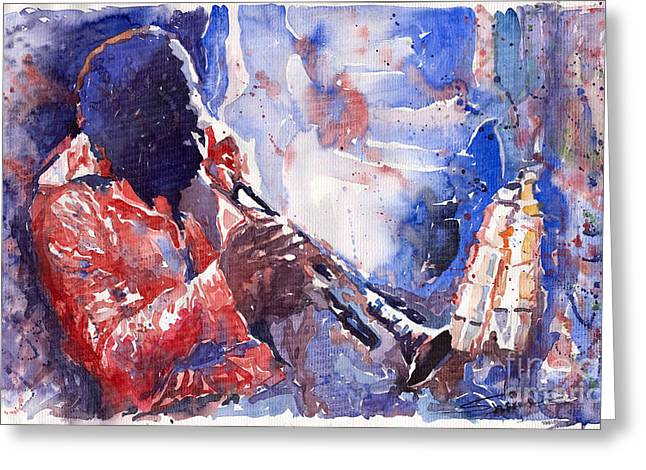 Music Greeting Cards - Jazz Miles Davis 15 Greeting Card by Yuriy  Shevchuk