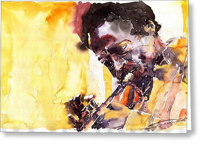 Jazz Miles Davis 6 Greeting Card by Yuriy  Shevchuk