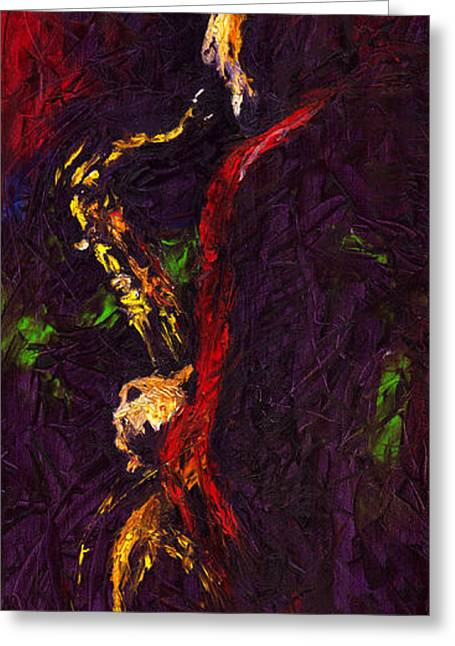Reds Greeting Cards - Jazz Red Saxophonist Greeting Card by Yuriy  Shevchuk