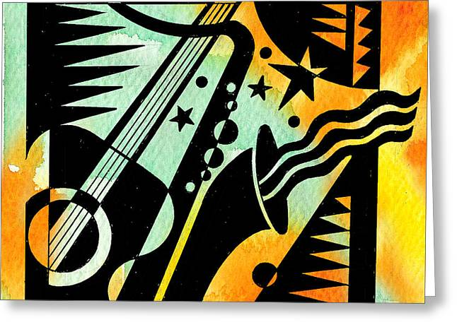 Jazz Relaxation Greeting Card by Leon Zernitsky