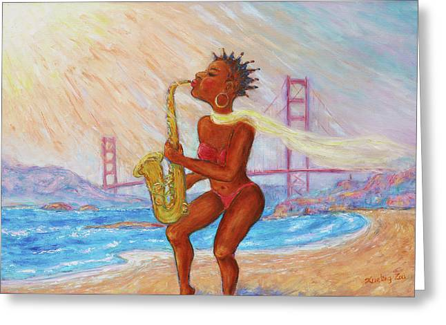 Greeting Card featuring the painting Jazz San Francisco by Xueling Zou