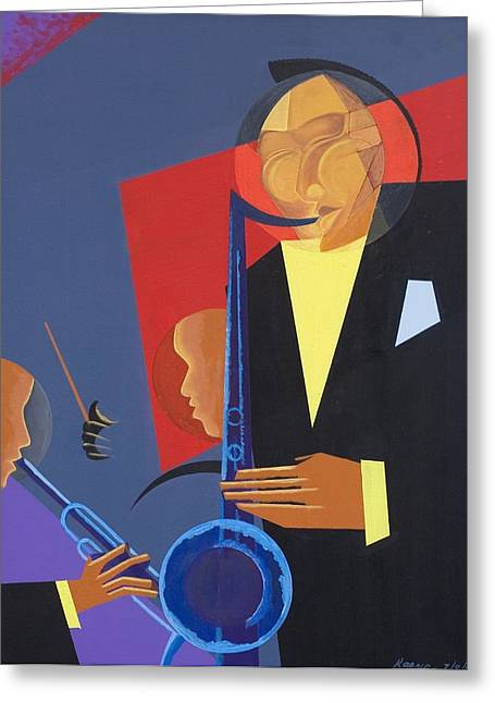 Double Bass Greeting Cards - Jazz Sharp Greeting Card by Kaaria Mucherera