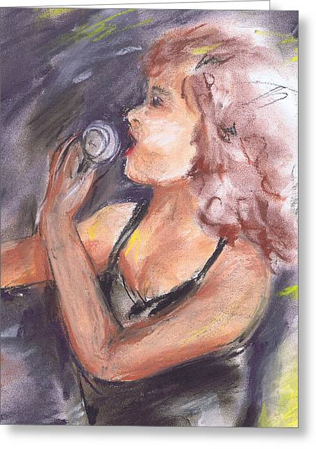 Jazz Singer Greeting Card by Marilyn Barton