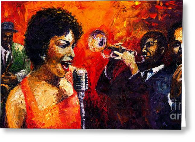 Jazz Song Greeting Card by Yuriy  Shevchuk