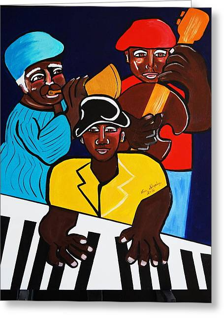 Jazz Sunshine Band Greeting Card by Nora Shepley