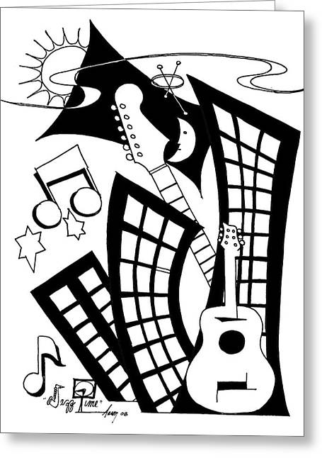 Jazz Time Greeting Card by Aaron Bodtcher