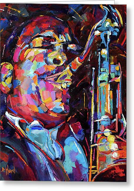 Jazz Trane Greeting Card by Debra Hurd