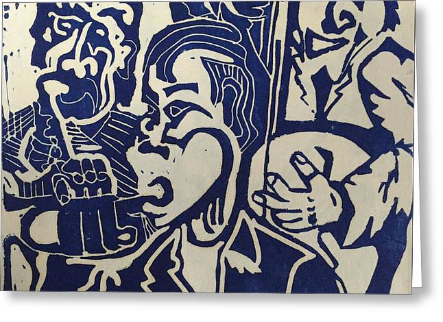 Greeting Card featuring the relief Jazz Trio by Jame Hayes