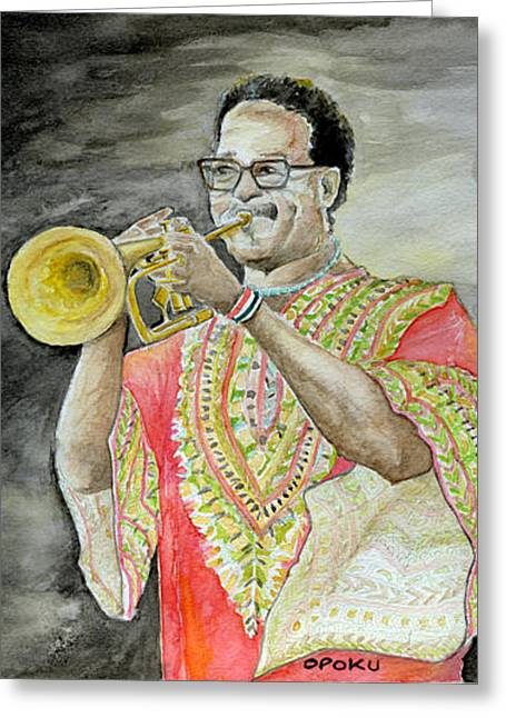 Jazz Trumpeter Greeting Card by Opoku Acheampong