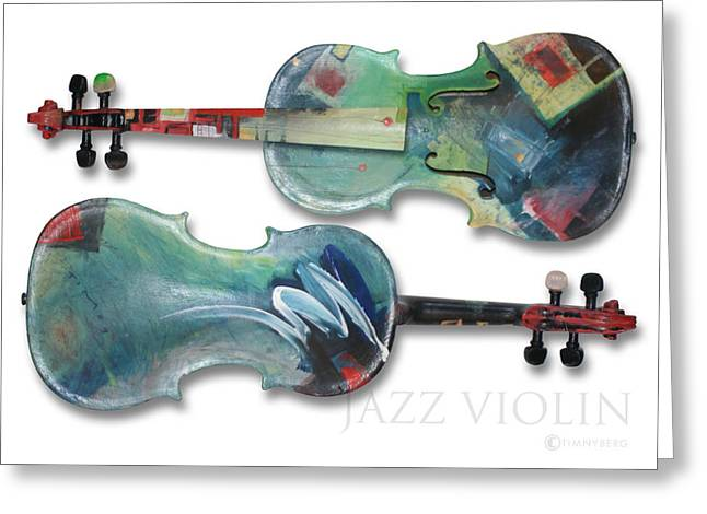 Abstract Music Greeting Cards - Jazz Violin - poster Greeting Card by Tim Nyberg
