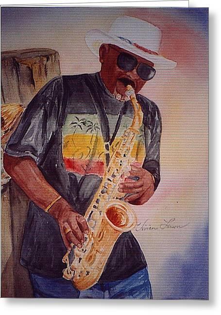 Jazzin' On The Boardwalk Greeting Card by Vivian Larson