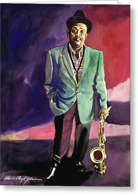 Big Band Greeting Cards - Jazzman Ben Webster Greeting Card by David Lloyd Glover