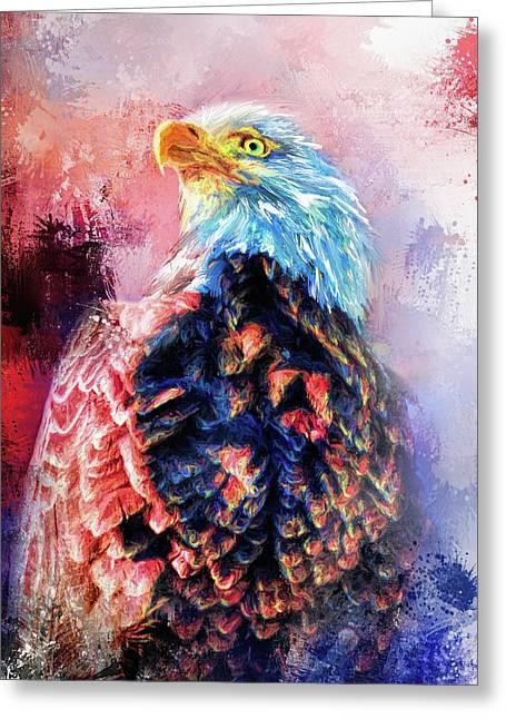 Jazzy Bald Eagle Colorful Bird Art By Jai Johnson Greeting Card