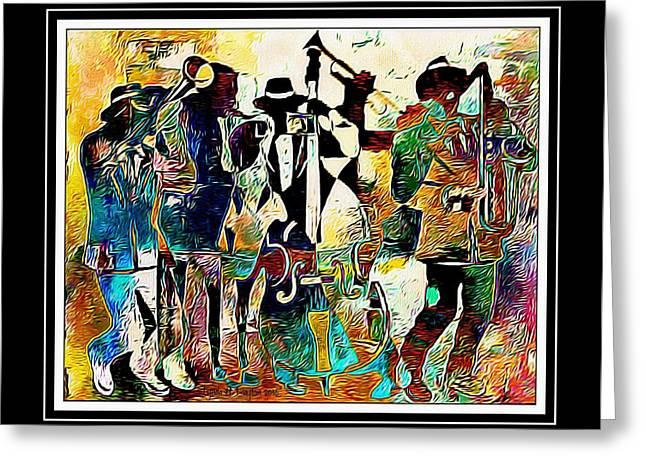 Jazzy Band Greeting Card by Lynda Payton