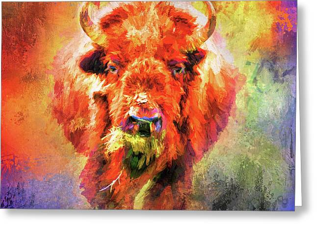 Jazzy Buffalo Colorful Animal Art By Jai Johnson Greeting Card