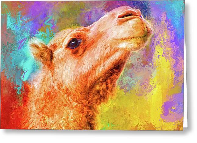 Jazzy Camel Colorful Animal Art By Jai Johnson Greeting Card