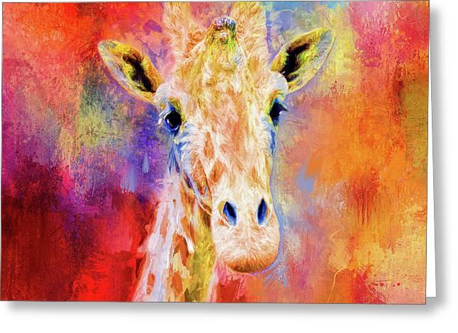 Jazzy Giraffe Colorful Animal Art By Jai Johnson Greeting Card