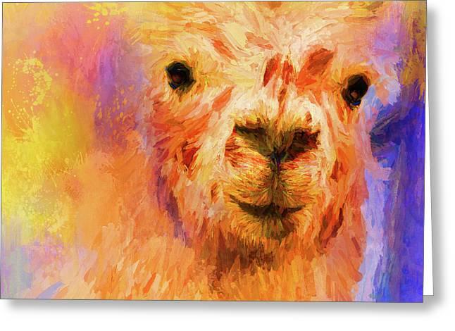Jazzy Llama Colorful Animal Art By Jai Johnson Greeting Card