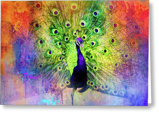 Jazzy Peacock Colorful Bird Art By Jai Johnson Greeting Card