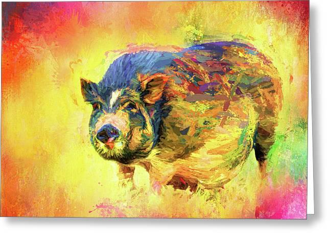 Jazzy Pig Colorful Animal Art By Jai Johnson Greeting Card
