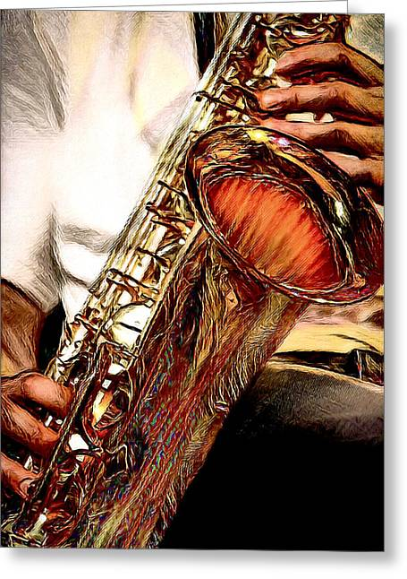 Jazzy Sax Greeting Card