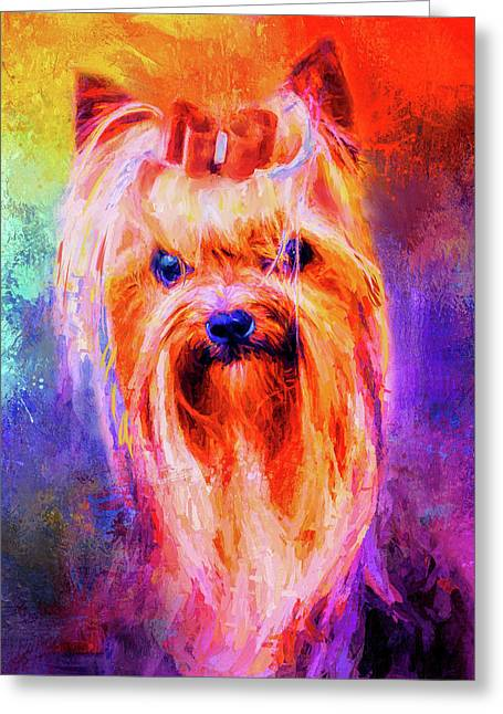 Jazzy Yorkshire Terrier Colorful Dog Art By Jai Johnson Greeting Card