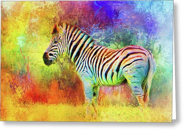 Jazzy Zebra Colorful Animal Art By Jai Johnson Greeting Card