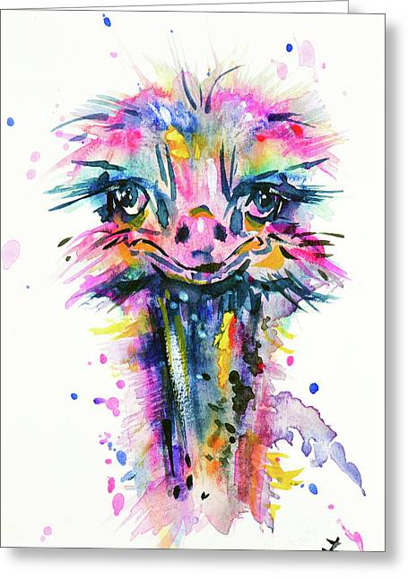 Greeting Card featuring the painting Jazzzy Ostrich by Zaira Dzhaubaeva