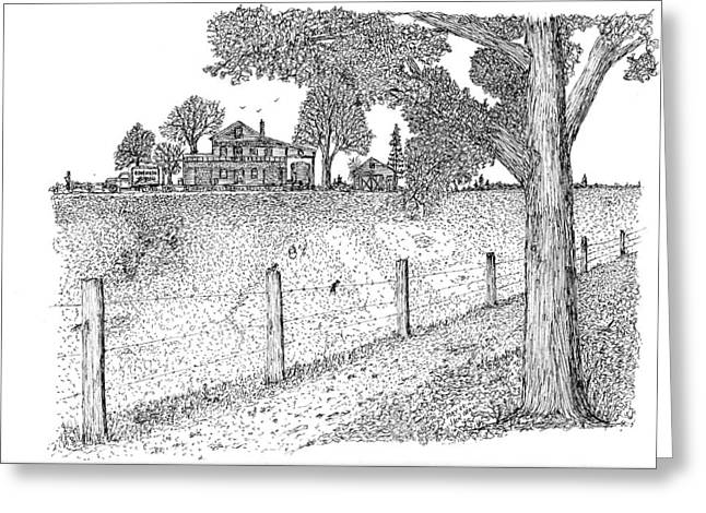 Greeting Card featuring the drawing Jb Farm by Jack G  Brauer