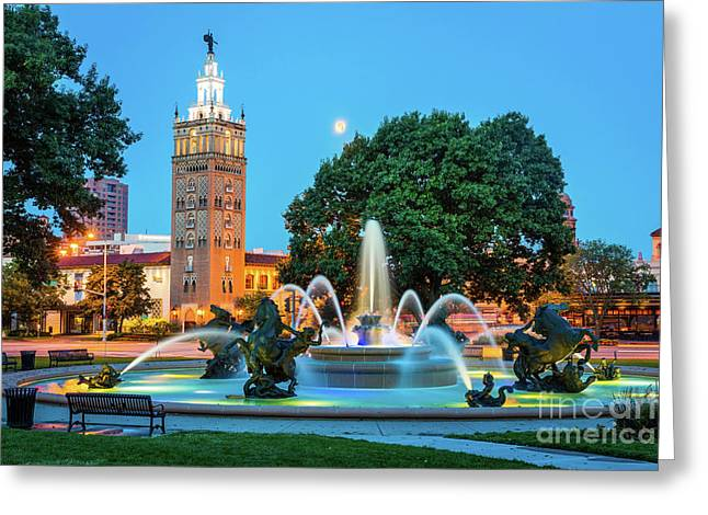 J.c. Nichols Memorial Fountain Greeting Card by Inge Johnsson