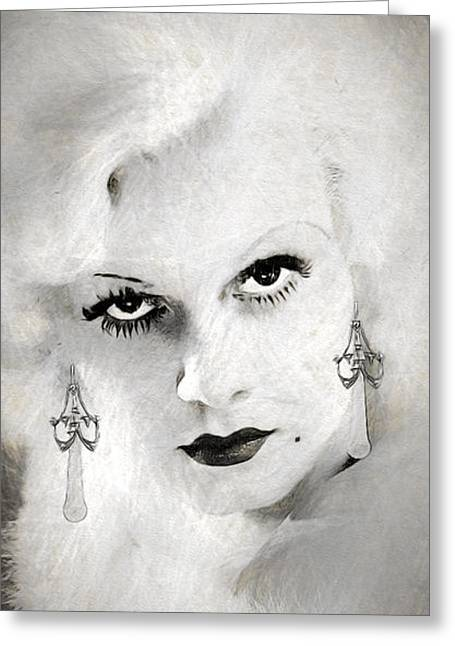 Jean Harlow Drawing Greeting Card by Quim Abella