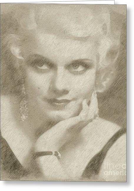 Jean Harlow Vintage Hollywood Actress Greeting Card by Frank Falcon