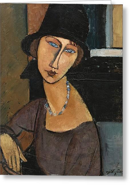 Jean Hebuterne. Au Chapeau Greeting Card by Amedeo Modigliani