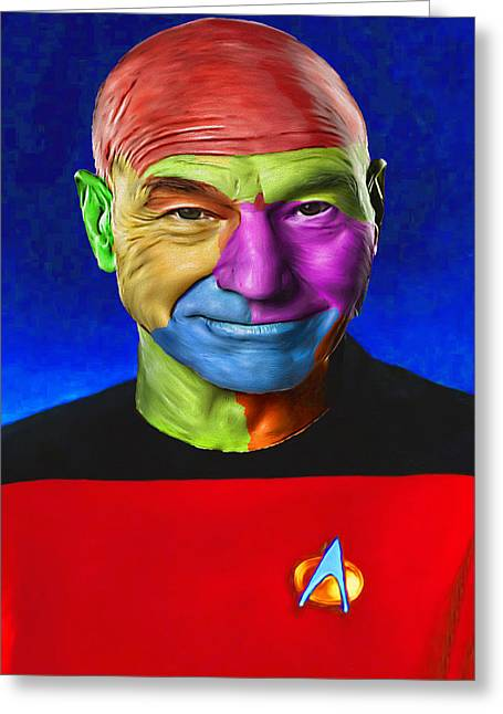 Jean-lic Picard 101 By Nixo Greeting Card by Nicholas Nixo