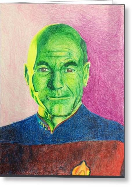 Jean-luc Picard Portrait Greeting Card by Elizabeth Vasquez
