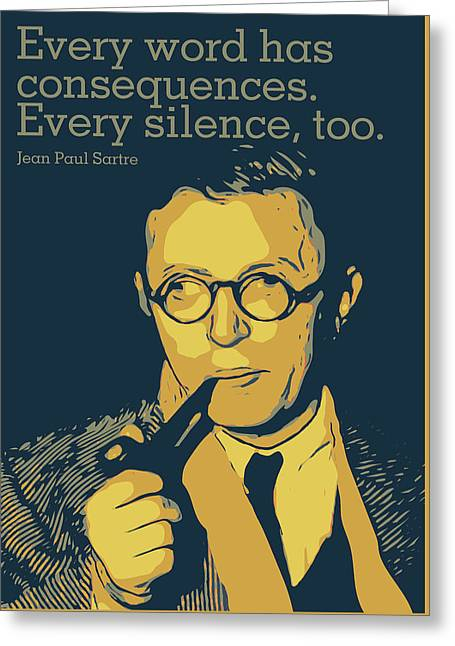 Jean Paul Sartre Greeting Card