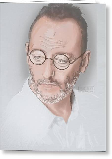 Greeting Card featuring the mixed media Jean Reno by TortureLord Art