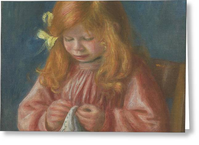 Jean Renoir Sewing Greeting Card by Pierre Auguste Renoir