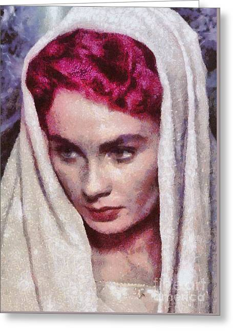 Jean Simmons, Vintage Hollywood Actress Greeting Card by Mary Bassett