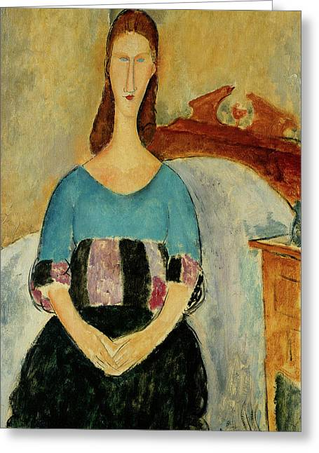 Jeanne Hebuterne Seated Amedeo Modigliani 1918 Greeting Card by Movie Poster Prints