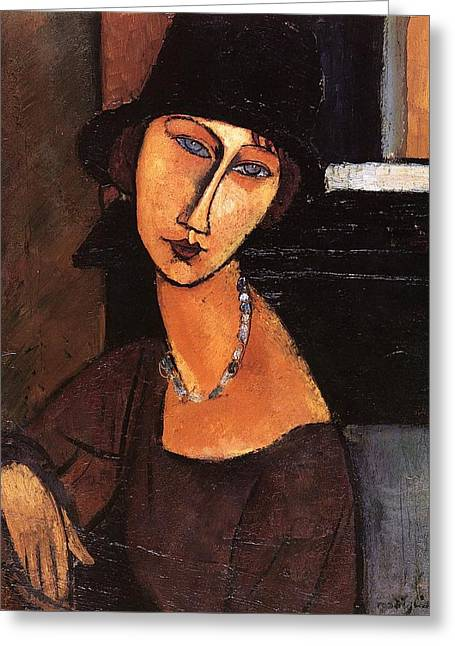 Jeanne Hebuterne With Hat And Necklace Greeting Card