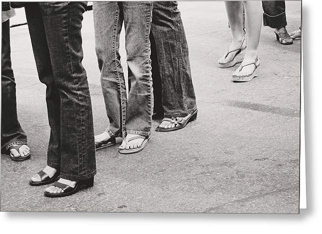 Jeans And Sandals Black And White- Photography By Linda Woods Greeting Card