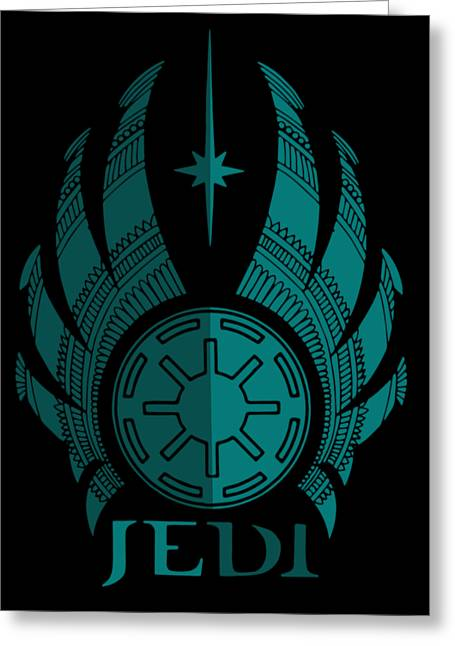Jedi Symbol - Star Wars Art, Blue Greeting Card