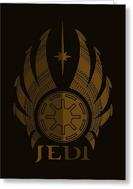 Jedi Symbol - Star Wars Art, Brown Greeting Card