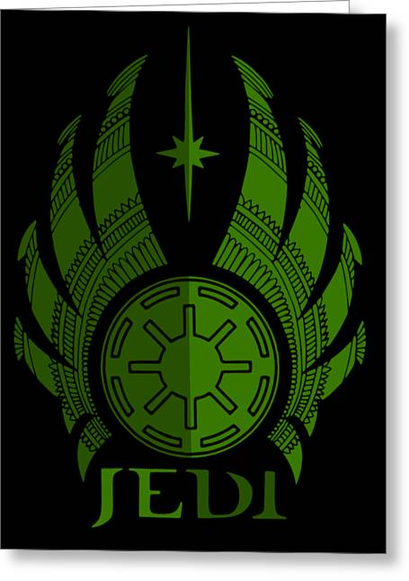 Jedi Symbol - Star Wars Art, Green Greeting Card