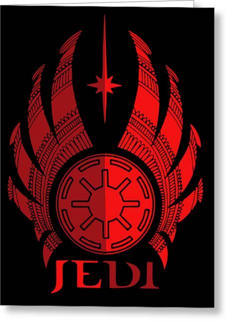 Jedi Symbol - Star Wars Art, Red Greeting Card