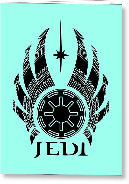 Jedi Symbol - Star Wars Art, Teal Greeting Card